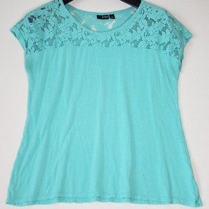 a.n.a. Women's XL Short Sleeve Laced Top Blouse